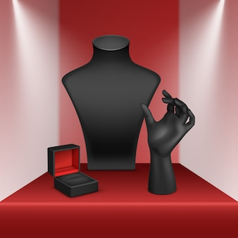黒のネックレス、ブレスレット、リングスタンドのセット