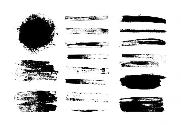 검은 페인트, 획, 브러쉬 세트입니다. 장식 요소