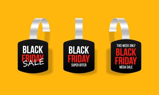 Набор черных ценников дизайн тегов для черной пятницы реалистичная этикетка продаж