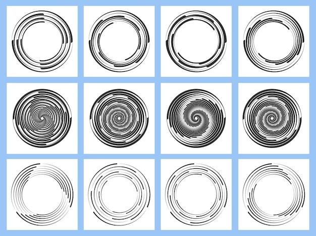 ハーフトーンの細い太い線を渦巻く白い破線の曲線からの黒い視線速度線のセット