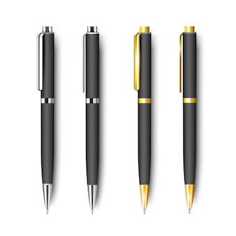 Набор черной реалистичной ручки, изолированной на белом