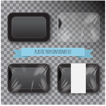 Набор из черного прямоугольника из пенопласта пластиковый пищевой лоток контейнер.
