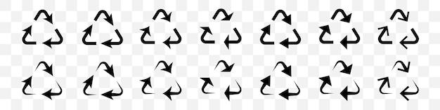 透明な背景の上の黒いリサイクル矢印のセット