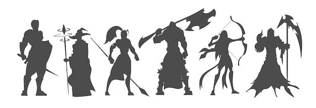 Набор черных силуэтов фэнтезийных персонажей и классов видеоигр