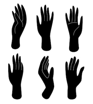 さまざまなジェスチャーで黒いシルエットの女性の手のセット。人体パーツ