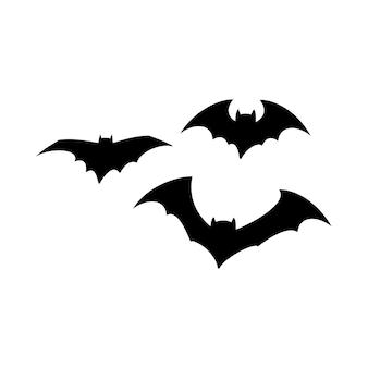 休日のハロウィーンのコウモリがお祝いの装飾を飛ぶための黒いシルエットのセット