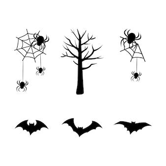 休日のハロウィーンのクモの巣の木のコウモリの黒いシルエットのセット