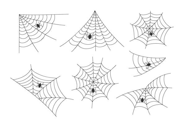 Набор черного вектора паутины