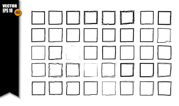 黒の正方形のグランジフレームのセット。