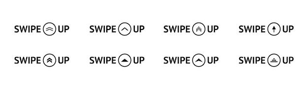 Набор черных значков смахивания вверх. пиктограмма прокрутки. стрелка вверх для историй в социальных сетях, дизайн-блогер, пиктограмма прокрутки. смахивающая кнопка рассказов. смахните вверх по тексту