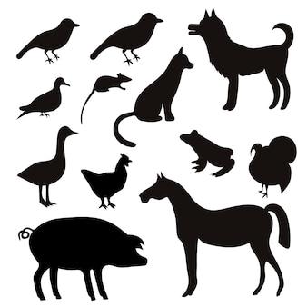 Набор силуэтов черных тропических животных и птиц.