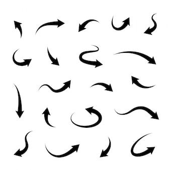 黒いベクトル矢印のセット。