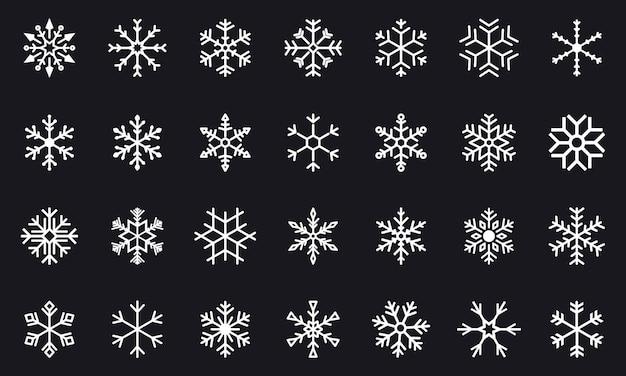 黒のベクトル雪片のセットです。冬のスノーフレークアイコン。冬のクリスマススノーフレーククリスタル要素。雪片のシンプルな細い線のアイコンのセットです。フラットベクトル装飾要素テンプレート。