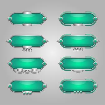 ゲームデザインイラストの空白のバナーまたはボックスの使用のセット