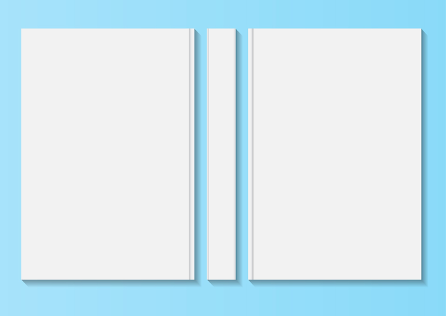 빈 책 표지 서식 파일의 집합입니다. 흰색 배경에 고립.