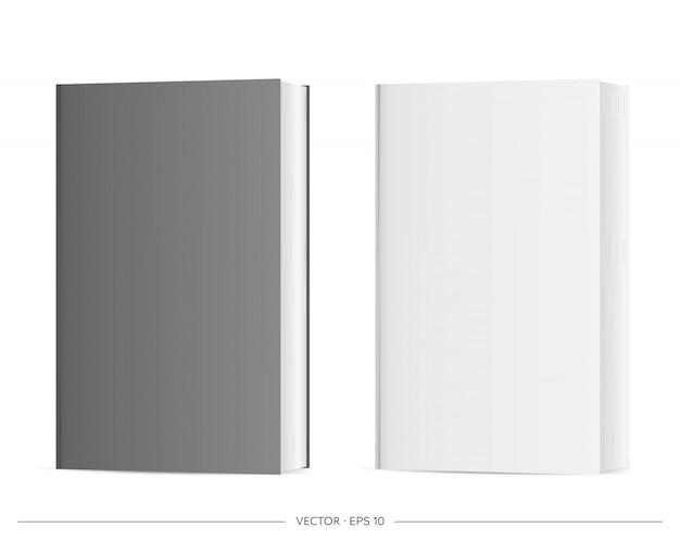 空白の本のセット。白い背景に分離された黒と白の現実的な本。図。