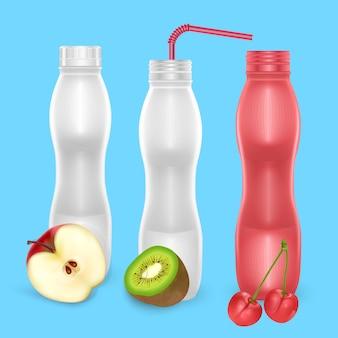 さまざまなフルーツフレーバーのミルクまたはヨーグルトを飲むためのブランクボトルのセット