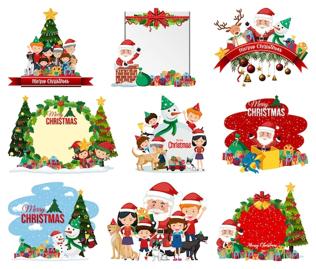 Набор пустой рождественской открытки и логотипа изолированы