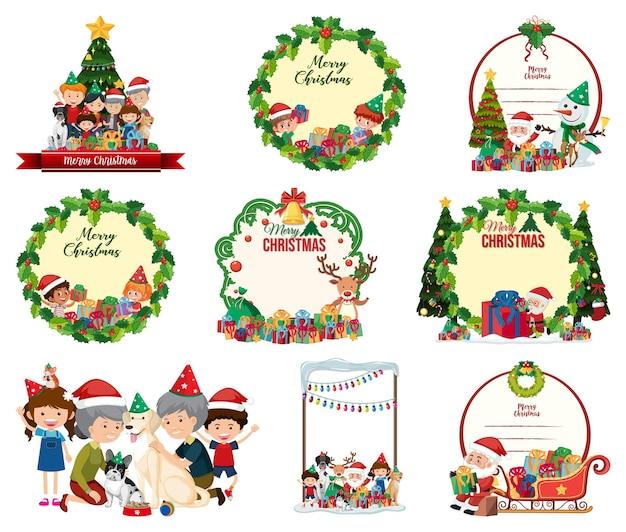 빈 크리스마스 엽서와 고립 된 로고 세트