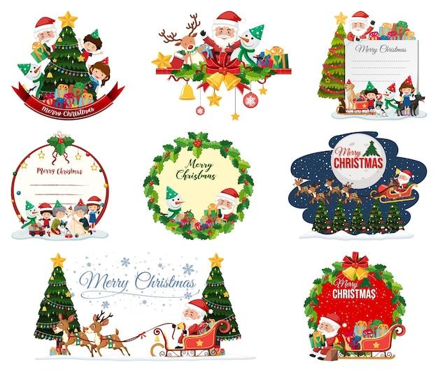 빈 크리스마스 엽서와 로고 절연 세트