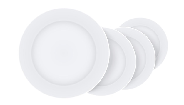空白の皿のセット、白い背景の上の3dイラストでモックアップテンプレートをプレート
