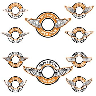 翼を持つ空白のエンブレムのセットです。バイカークラブ、レーサーコミュニティのラベルテンプレート。図