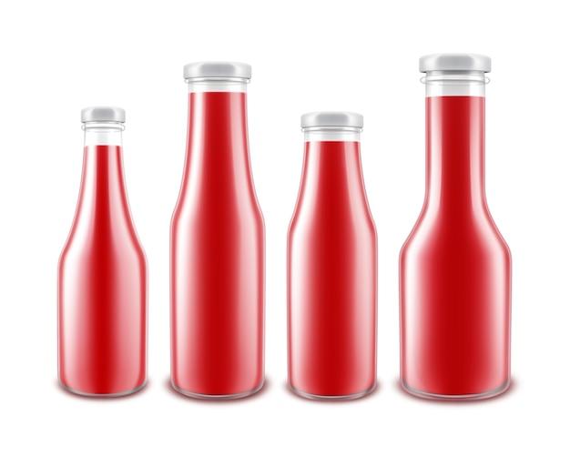 白い背景で隔離のラベルなしのブランディングのためのさまざまな形の空白のガラス光沢のある赤いトマトケチャップボトルのセット