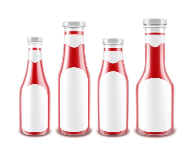 空白のガラスの光沢のある赤いトマトケチャップボトルセットの白い背景に分離された白いラベルのブランドのさまざまな形