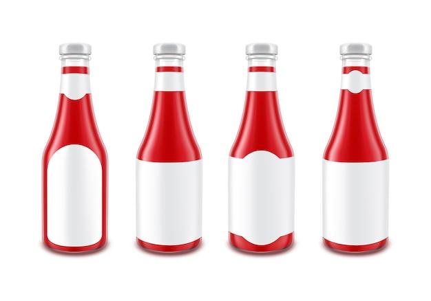 空白のガラスの赤いトマトケチャップボトルの白い背景で隔離の白いラベルなしのブランディングのため