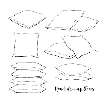 Набор пустых рисованных подушек в стиле эскиза - одна, две, стопка из четырех, рука, держащая стопку из трех подушек