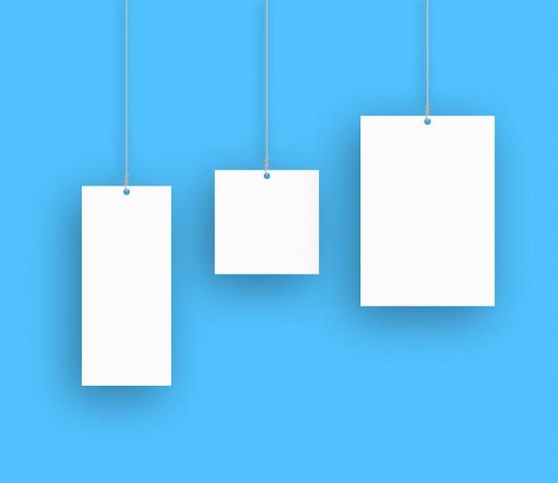 空白の吊り下げポスターのセットです。ベクトルイラスト。