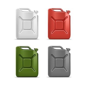 分離された空白のジェリカンキャニスターガロンオイルクレンザー洗剤洗浄剤のセット