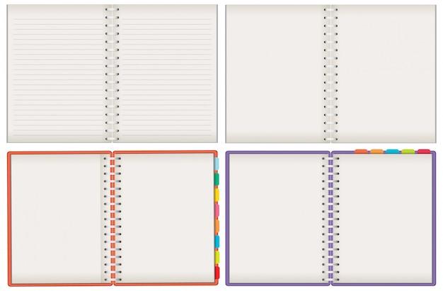 白い背景の上の空白のノートブックのセット