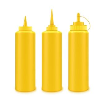 白い背景の上のラベルなしのブランディングのための空白のプラスチック黄色いマスタードボトルのセット