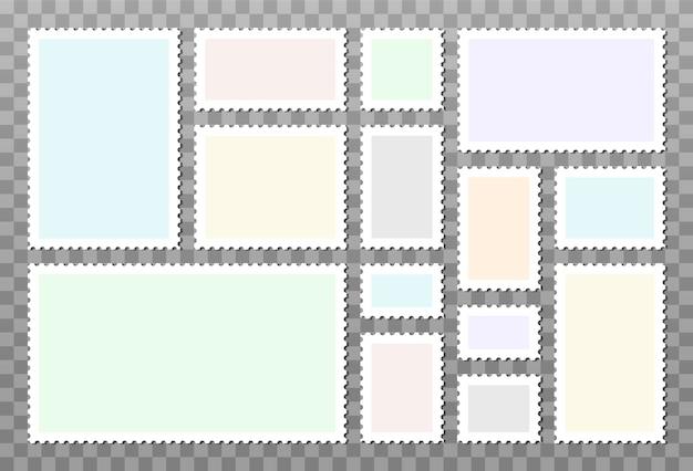 투명 한 배경에 고립 된 빈 우표의 집합입니다. 이미지와 텍스트를위한 장소가있는 빈 템플릿.