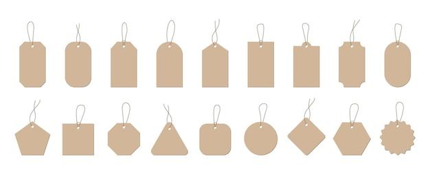 Набор пустых ценников торговые бумажные этикетки с веревкой