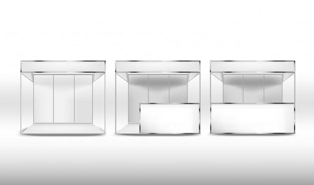 白い背景の上の空白のプロモーション展示スタンドのセット。コーポレート・アイデンティティ