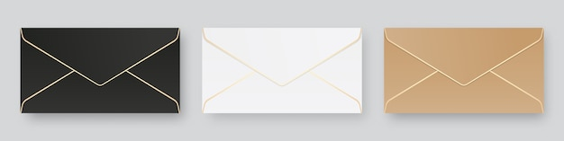 空白の現実的な封筒モックアップのセットです。分離されました。テンプレートデザイン。リアルなイラスト。