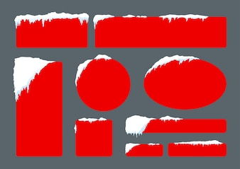 Set of blank red banner with snow for winter and christmas