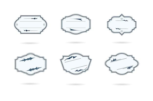 白いイラストの空白のレトロなヴィンテージバッジとラベルのセット