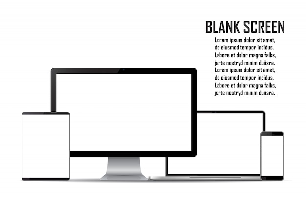 空白の画面のセットです。コンピューターのモニター、ラップトップ、タブレット、スマートフォン
