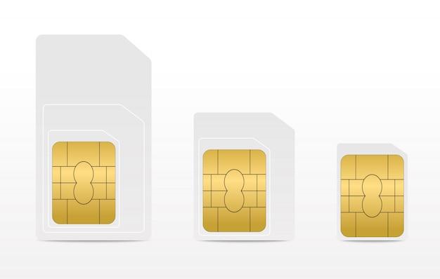 携帯電話用の空白のsimカードのセット。 simカード-ミニ、マイクロ、ナノ。
