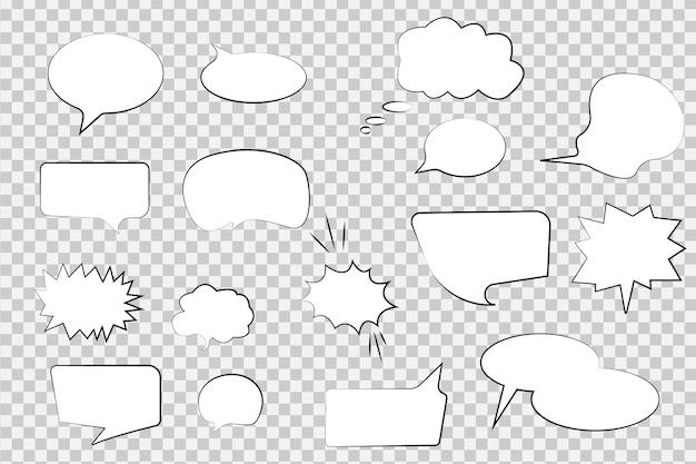 흰색 배경에 하프톤 그림자가 있는 빈 템플릿 음성 만화 거품 및 요소 집합입니다. 빈티지 디자인, 팝 아트 스타일 - 벡터 일러스트 레이 션