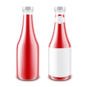 白で隔離される空白のトマトケチャップボトルのセット