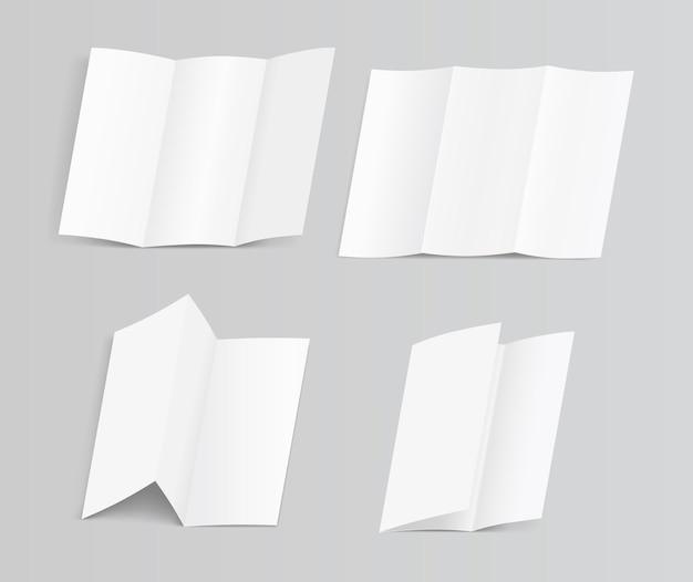 空白の三つ折り紙パンフレットイラストのセット