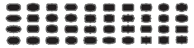Набор пустых старинных этикеток фреймов в черном