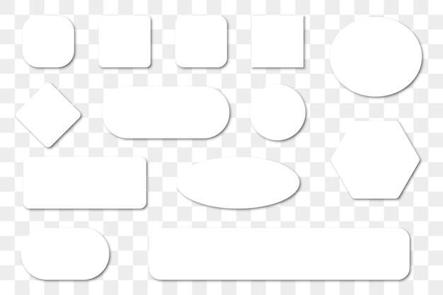 影付きの空白の白いボタンのセット