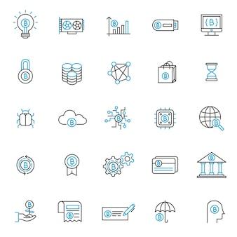 細い線のスタイルを持つblockchain tecnologyアイコンのセット、ビジネス用webアイコン、ビットコイン用