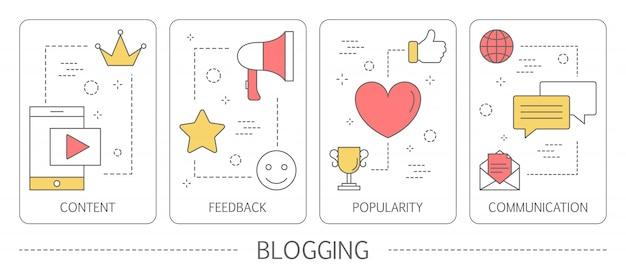 ブログの垂直バナーのセットです。インターネットでコンテンツを共有します。ソーシャルメディアとネットワークのアイデア。フィードバック、コミュニケーション、人気。図