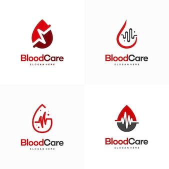 Набор дизайнов логотипа ухода за кровью, кровь с вектором значка символа импульса
